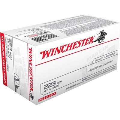 Winchester White Box Ammo 223 Remington 45gr Jhp 223 Remington 45gr Jacketed Hollow Point 40/Box