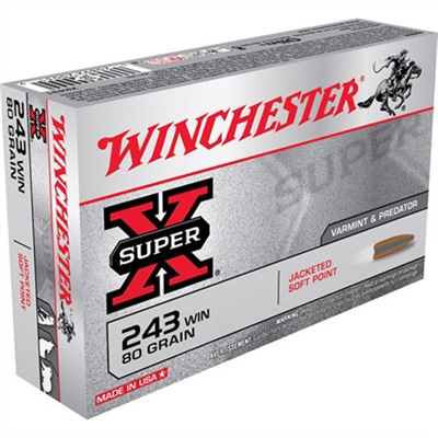 WINCHESTER - SUPER-X AMMO 243 WINCHESTER 80GR POINTED SP
