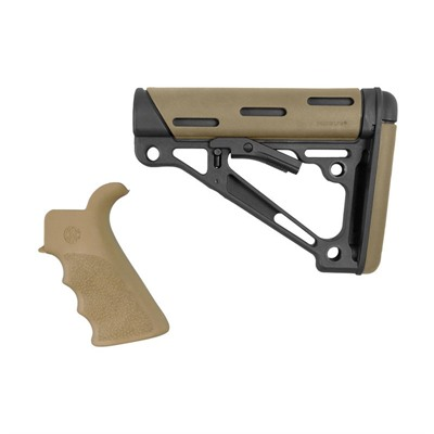 Hogue Ar-15 Finger Groove Grip W/Collapsible Commercial Buttstock - Ar-15 Fg Bt Grip& Overmold Buttstock Collapsible Comm Fde