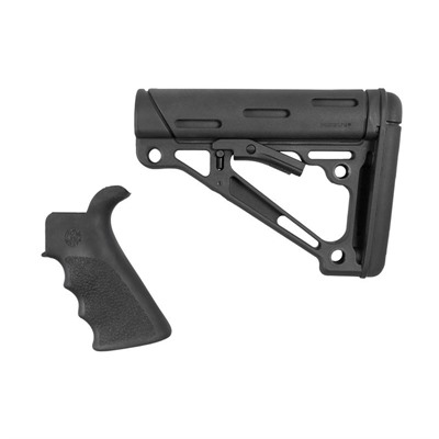 Hogue Ar-15 Finger Groover Grip W/Collipsible Mil-Spec Buttstock - Ar-15 Fg Bt Grip& Overmold Buttstock Collapsible Milsp Blk