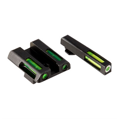 Hiviz Litewave H3 Tritium White Ring Front Sight Set W/ Green Litepipes - Glock 9mm/.40s&W/.357 Sig Litewave H3 Tritium Sight Set