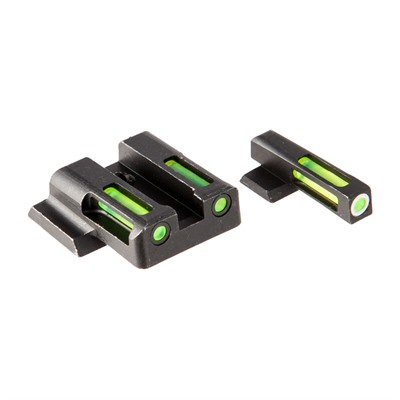 Hiviz Litewave H3 Tritium White Ring Front Sight Set W/ Green Litepipes - S&W M&P Full Size/Compact Lightwave H3 Tritium Sight Set