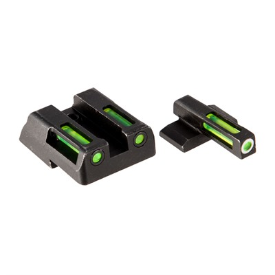 Hiviz Litewave H3 Tritium White Ring Front Sight Set W/ Green Litepipes - H&K Hk45/C/P30/Sk/Vp9/Vp40 Lightwave H3 Tritium Sight Set