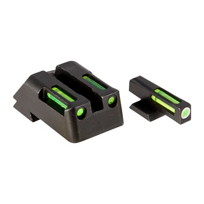 Hiviz Litewave H3 Tritium White Ring Front Sight Set W/ Green Litepipes - 1911 Lightwave H3 Tritium Sight Set