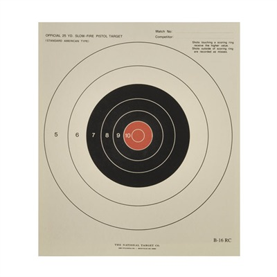 National Target B-16rc 25-Yard Red Center Unoffical Slow Fire - B-16rc Targets, Per 100