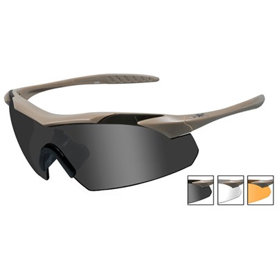 Wiley X Eyewear Vapor Shooting Glasses - Clear Rust, Smoke Gray Vapor Shooting Glasses Tan