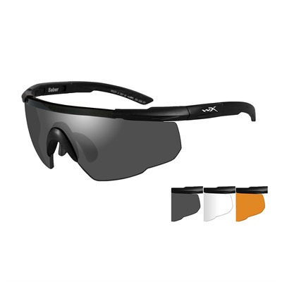 Saber Shooting Glasses - Wx Saber Advanced-Black Frame-Grey/Clear/Rust Lens