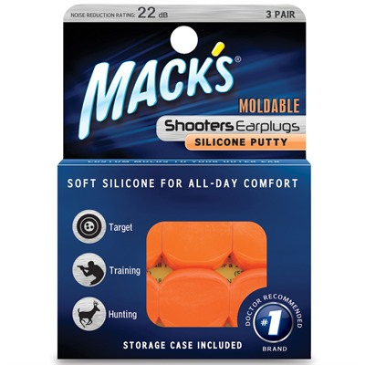 Mckeon Products Mack's Orange Moldable Silicone Ear Plugs - Orange Moldable Silicone Putt - 3 Pr
