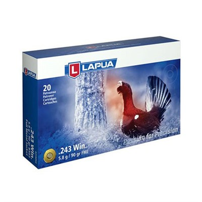 Lapua Sport Shooting Ammo 243 Winchester 90gr Fmj - 243 Winchester 90gr Full Metal Jacket 20/Box