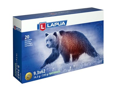 Lapua 9.3x62mm Mauser Naturalis Ammo - 9.3x62mm Mauser 220gr Lead-Free Polymer Tip 20/Box