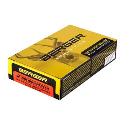 Berger Bullets Match Grade Hunting 308 Winchester Ammo - 308 Winchester 168gr Hybrid Boat Tail 20/Box
