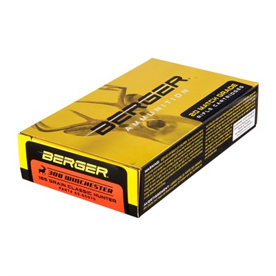 Berger Bullets Match Grade Hunting 308 Winchester Ammo - 308 Winchester 185gr Hybrid Boat Tail 20/Box