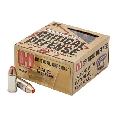Hornady Critical Defense 32 Auto Ammo - 32 Auto 60gr Ftx 25/Box