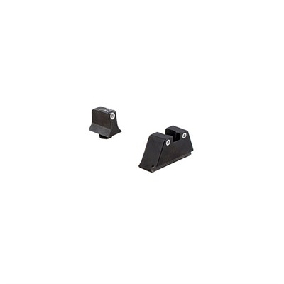 Trijicon Suppressor Tritium Night Sights For Glock - Night Sight Set White Outline- Green Lamps