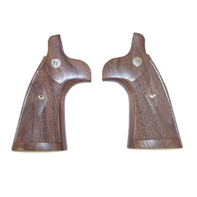 Smith & Wesson N-Frame Walnut Checkered Round To Square Conversion Grips - N Frame Checkered Walnut Round To Square Conversion Grips
