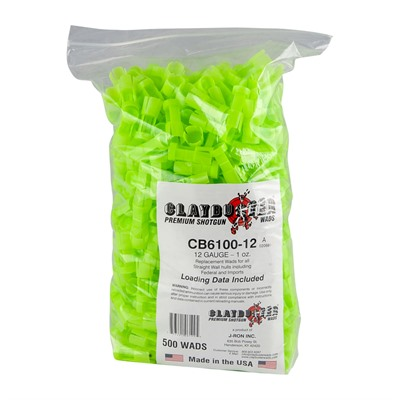 J-Ron Straight Wall Hulls 12 Gauge Claybuster Wad 7/8 To 1oz - 12 Gauge 7/8 To 1oz Wads Green 500/Bag