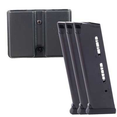 1911 8rd 45acp Elite Tactical Magazines 3 Packs + Pouch - Govt .45 Acp 8-Rd, Black, Polymer Base 3-P