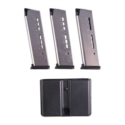 1911 8rd 45acp Elite Tactical Magazines 3 Packs + Pouch - Govt .45 Acp 8-Rd, Silver, Polymer Base 3-